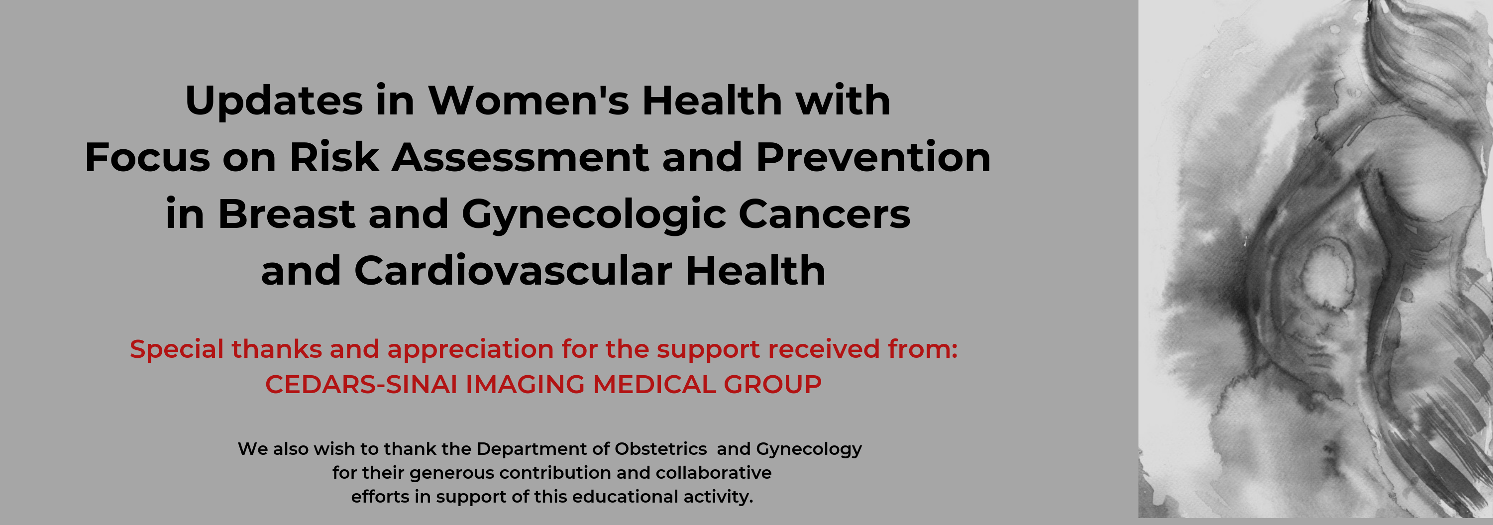 Updates in Women's Health with Focus on Risk Assessment and Prevention in Breast and Gynecologic Cancers and Cardiovascular Health Banner