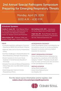 Cedars-Sinai Special Pathogens Symposium 2019 Banner
